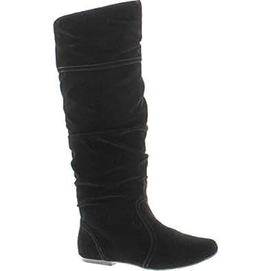 Qupid Women's Neo144 Leatherette Basic Slouchy Knee High Flat Boot,Black,6