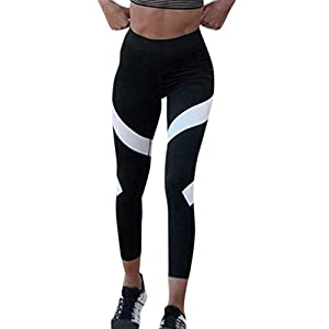 Hot Sale Pants! Auwer Tight Mesh Panels Yoga Pants Stretchy Women's Leggings Gym Fitness Workout Non See Through (XL, Black)