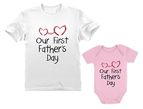 Our First Father's Day Dad & Baby Matching Set Infant Bodysuit & Men's T-Shirt Dad White Medium/Baby Pink 6M (3-6M) ()