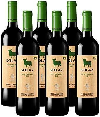 Vino tinto Solaz Tempranillo Bio de 75 cl - D.O. Tierra de Castilla - Bodegas Osborne (Pack de 6 botellas): Amazon.es: Alimentación y bebidas