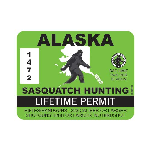 "RDW Alaska Sasquatch Hunting Permit - Color Sticker - Decal - Die Cut - Size: 4.00"" x 3.00"""