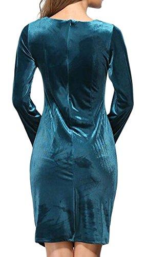 Cromoncent Femmes Zip Moulante En Velours Solide Ruché Crayon Robes Midi Vert