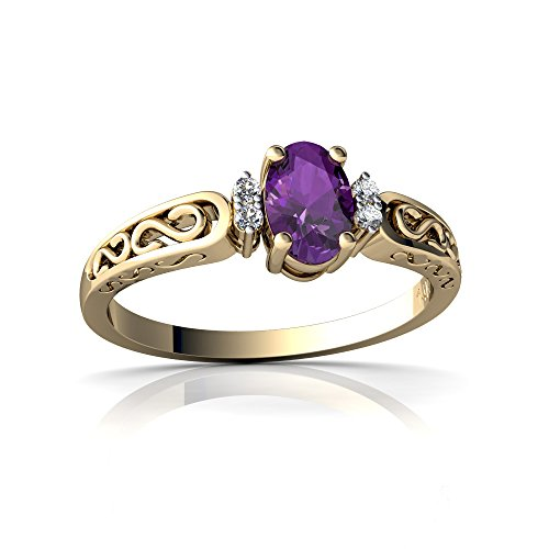 (14kt Yellow Gold Amethyst and Diamond 6x4mm Oval filligree Scroll Ring - Size)