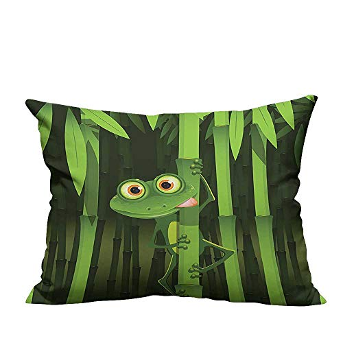 YouXianHome Household Pillowcase Funny Illustration of Friendly Fun Frog on Stem of The Bamboo Jungle Trees Perfect for Travel(Double-Sided Printing) 19.5x30 ()