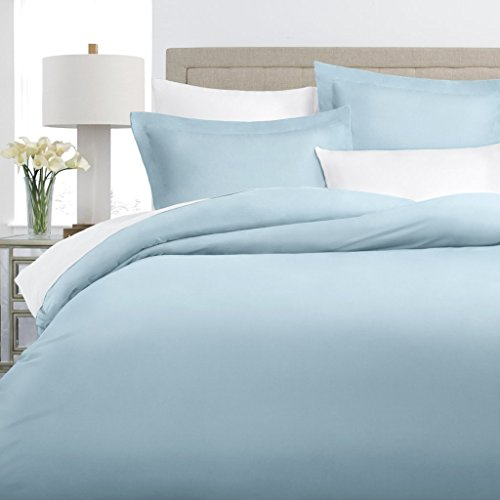 Italian Luxury 100% Long-Staple Combed Cotton Duvet Cover Set - Hypoallergenic Duvet Cover with Zippered Closure and Matching Shams - Twin/TwinXL - Sky Blue (Sky Duvet)