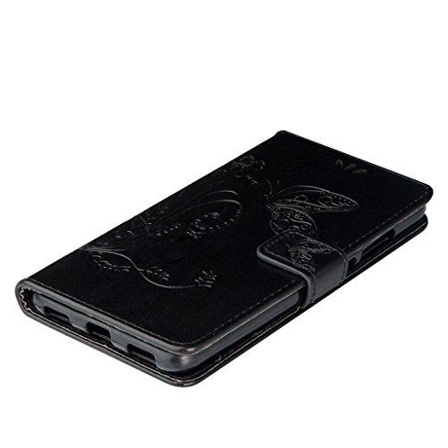 Erdong® Magnético Folio Flip Caso Con pata de cabra titular de la tarjeta Para Huawei Honor 5A, Elegant Simple Book-style [Negro flor de mariposa] patrón de impresión cuero del soporte Folio Pouch Pro