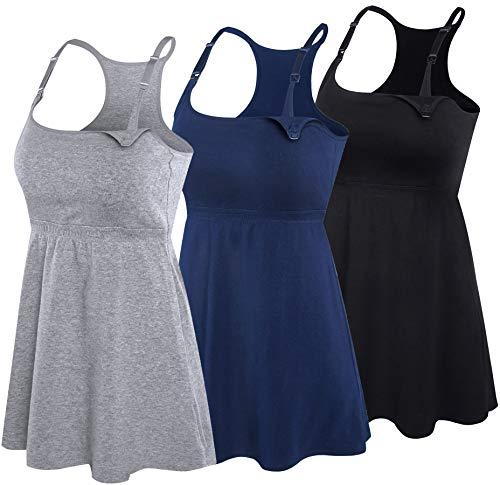 SUIEK 3PACK Racerback Nursing Tops Tank Cami Maternity Bra Breastfeeding Sleep Shirt (Medium, Black+Navy+Grey 3Pack)