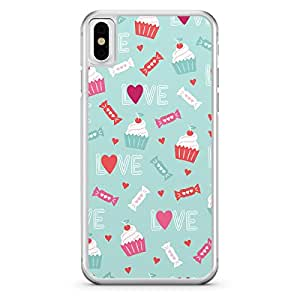 Apple iPhone X Transparent Edge Valentines Day Couples Love Upcake Heart Pattern - Multi Color