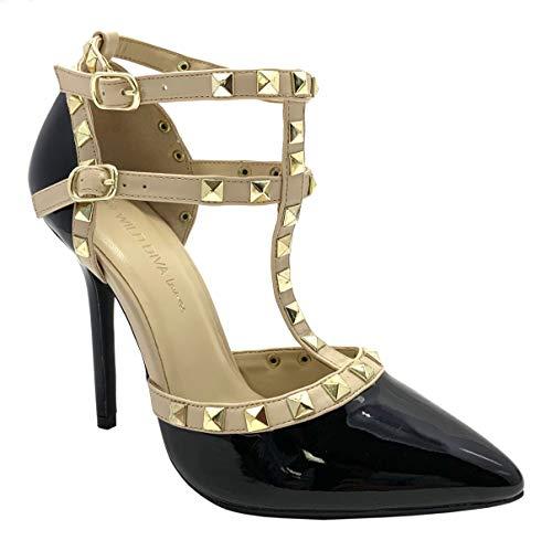 Wild Diva Womens Pointy Toe Heel Pump Sandal, Black Patpu, 6.5 B(M) US