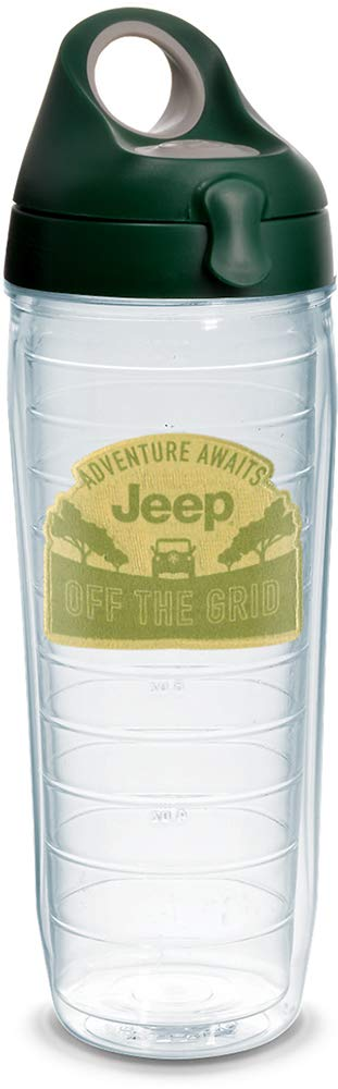 Tervis 1304393 ジープ ブランド-Adventure Awaits 断熱タンブラー エンブレムとハンターグリーン グレーの蓋付き 24オンス ウォーターボトル クリア B07F86FTZZ