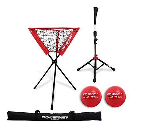 (PowerNet Coach's Bundle Ball Caddy + Tee + 2 Pack Heavy Weighted Training Balls for Baseball Softball (Red) | Focus on Hitting Drills | Improve Contact Rate Power and Follow)
