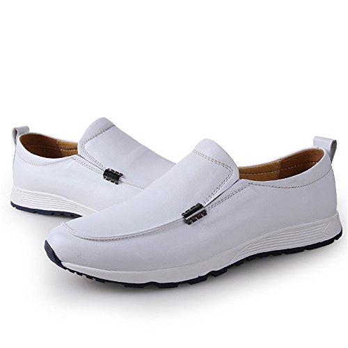 43 Xiazhi Slip tamaño Vare Mocasines Mocasines Negro shoes Conducción EU Vamp los de Barco Penny Suave Casual Hombres on Color Goma Forrado Cuero Zapatos de Suela Blanco ppSrxq