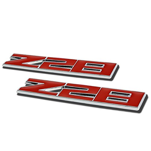 (2 x Metal Emblem Decal Logo Trim Badge Z28 (Red))