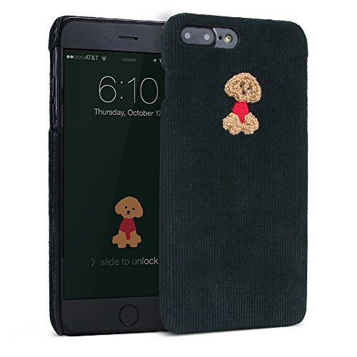 iPhone 7 Plus / iPhone 8 Plus Case, DesignSkin [CORDUROY BOUCLE] Embroidered Fabric Slim Thin Lightweight Non-Slip Grip Cute Unique Fashion Embroidery Design Poodle Character Hard Cover (Deep Green)