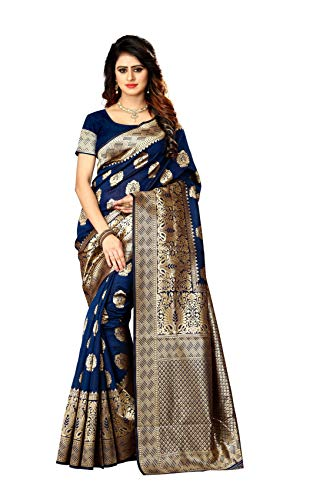 New Indian/Pakistani Ethnic Designer Multi Color Banarasi Silk Party Wedding Saree P 20 (Navy Blue) (Best Designer Saree Collection)
