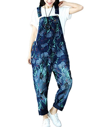 Corduroy Plaid Overalls (Yesno PF8 Women Loose Overalls Jumpsuits Jeans Pants 100% Cotton Casual Ripped Holes Floral Painted Buttoned Waist Pockets)