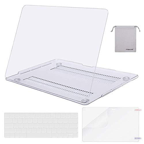 MOSISO MacBook Pro 13 inch Case 2019 2018 2017 2016 Release A2159 A1989 A1706 A1708,Plastic Hard Shell& Keyboard Cover& Screen Protector& Storage Bag Compatible Newly MacBook Pro 13,Crystal Clear