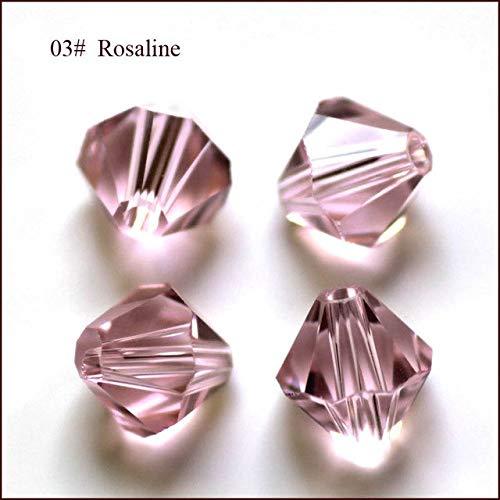 Calvas Wholesale Grade AAA 5301 5328 3mm 4mm 5mm 6mm 8mm 10mm 30 Color Crystal Bicone Beads 100pcs/Bag - (Color: Rosaline, Item Diameter: 10mm)