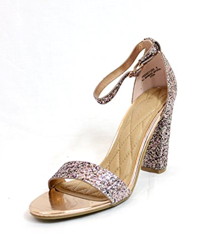 Bamboo Open Toe Glitter Sparkle Block Chunky High Heel Dress Sandalias Para Mujer Zapatos Blush