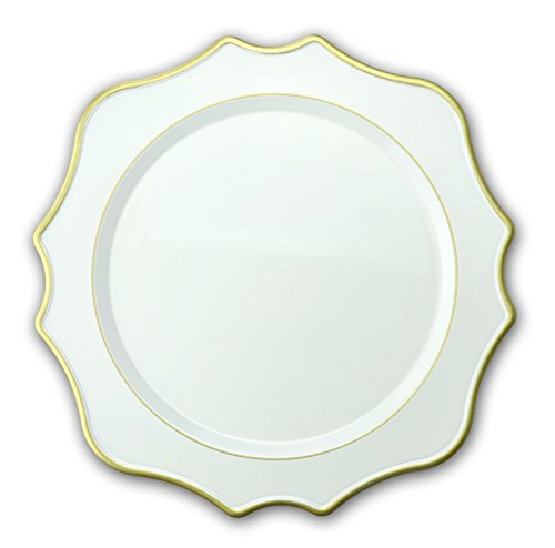 OCCASIONS 10 Pcs. 13'' Wedding Charger Plates (Scalloped White/Gold)