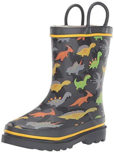 Western Chief Boys Kid's Waterproof Printed Rain Boot, Dino Dash, 11/12 M US Toddler
