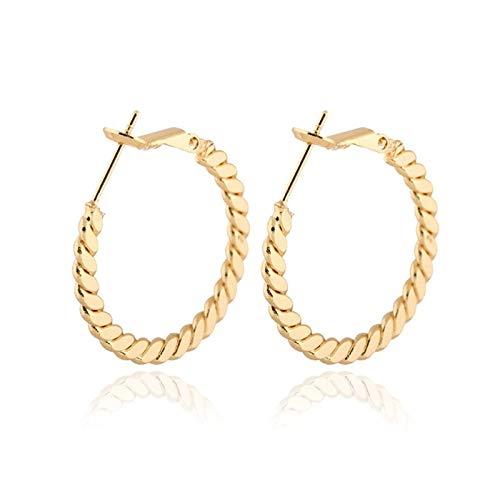 New White/Yellow/Rose Gold Color Plain Twisted Circle Round Hoop Huggie Earrings Fashion Party Wedding Jewelry for Women Girls