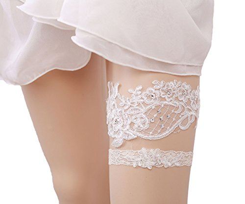 WoodBury Beige Wedding Garter Belt Set Throw Away and Keep One with Beaded