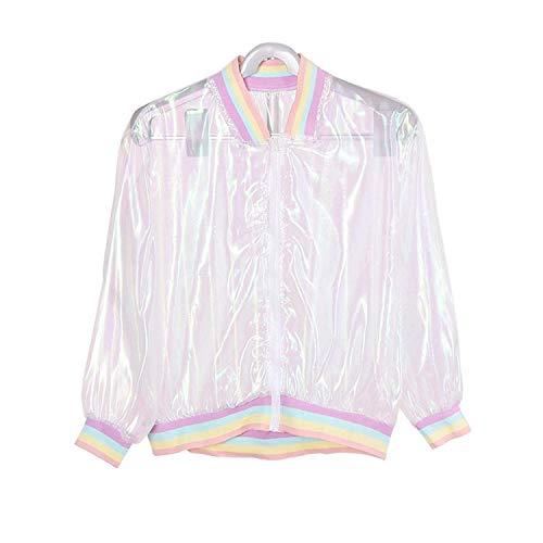 Harajuku Swag Rainbow Pastel Clear Bomber Jacket for Womens (Fairy Kei)