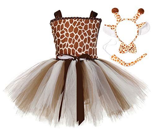 Tutu Dreams Halloween Costumes for Girls Brown Deer Animal Tutu Dress Birthday Carnival Party (Deer-2, X-Large)