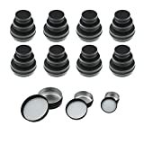 LJY 48 Pieces Black Round Aluminum Cans Screw Lid Metal Tins Jars Empty Slip Slide Containers (Mixed Sizes)
