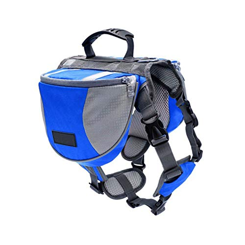 LIAOYLY Pet Outdoor Backpack Large Dog Reflective Adjustable Saddle Bag Harness Carrier Traveling Hiking Camping Safety,The,L,