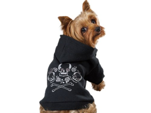 Zack and Zoey Crowned Crossbone Dog Hoodie, Small, 12-Inch, Black, My Pet Supplies