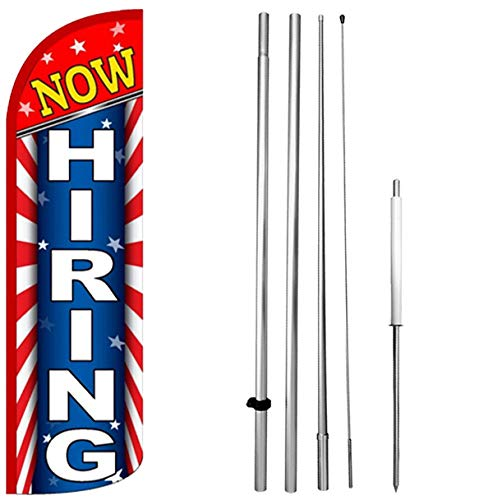 - Now Hiring - Windless Feather Swooper Flag Banner Sign Kit Starburst rq-h