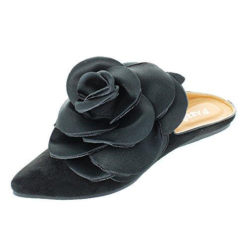 Talons Urbains Femmes Backless Slip Sur Fleur Décor Glissière Pantoufles Mocassins Flats Noir