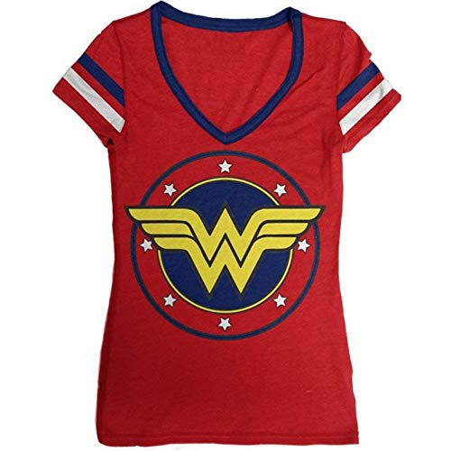 DC Comics Wonder Junior's Logo V-Neck Junior's T-Shirt (XX-Large)]()