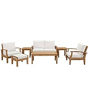 "7 Pc Outdoor Patio Teak Sofa S Natural White Dimensions: 56""W X 139""D X 31.5""H Weight: 366 Lbs"