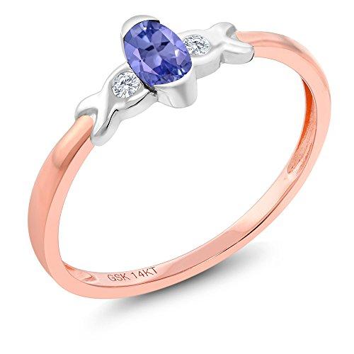 Gem Stone King 14K Two Tone Gold 0.24 Ct Blue Tanzanite and Diamond Engagement Ring (Size 5) - Ring Tone Tanzanite Two
