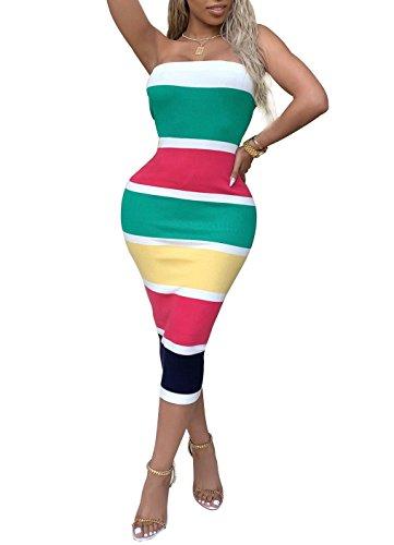 (Ophestin Womens Off Shoulder Tube Stripe Print Bodycon Party Long Midi Pencil Dress Green S)