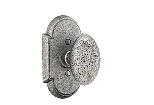 Emtek PRIVACY SET #1 Wrought Steel Rosette, 7 knob/lever options and 2 finish options (Indicate Left or Right handed for levers) (Savannah Knob, Satin Steel (SWS)) ()