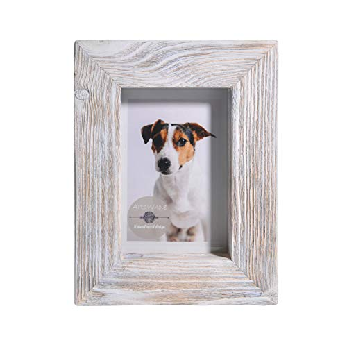 - 4x6 White Rustic Picture Frame - PREMIUM QUALITY - Reclaimed Wooden Photo Frame - Wall Mounting or Tabletop Display - Solid & Thick Natural Pine Tree (1.6