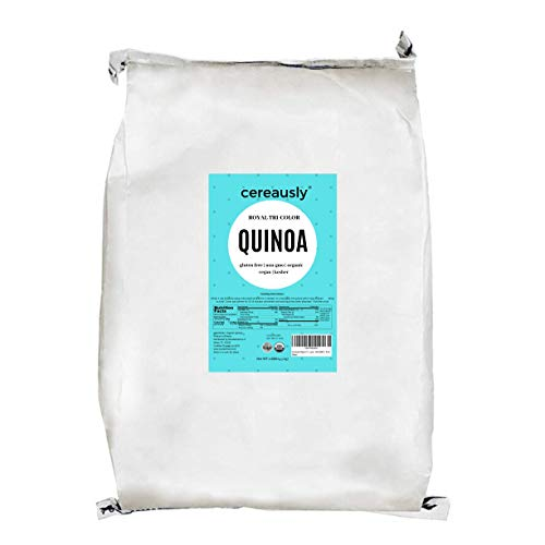 CEREAUSLY Organic Tri-Color Quinoa in Bulk   10 Lb   Restaurants   Wholesale   Bolivian   Royal   NON-GMO   Kosher   Gluten-Free   Vegan