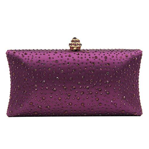 Purple Crystal Purse - Women Handbags Rhinestone Party Prom Wedding Bride Evening Bags Crystal Party Clutches Bag (Dark purple)
