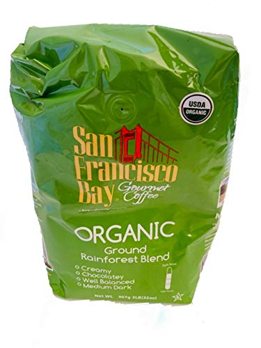 San Francisco Bay USDA Organic Rainforest Blend Medium Dark Coffee 2 Lb Bag (San Francisco Whole Bean Coffee)