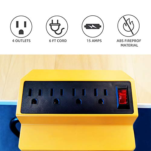 Desk Clamp Power Strip,Yellow Desktop Power Outlets Connect 4 Plugs,Removable Desktop Mount Multi-Outlets with 6ft Cord for Home Office Reading Outdoor,UL and ETL Listed
