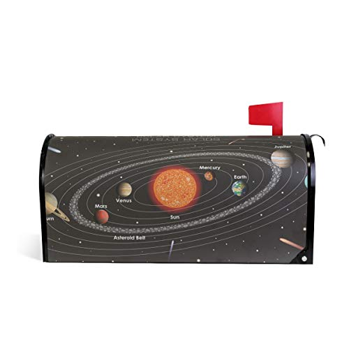 (WIHVE Mailbox Cover Space Solar System Magnetic Post Box Cover Wrap Home Decoration)