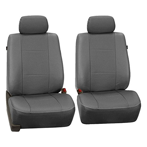 Gray Headrest (FH Group PU007GRAY102 Gray Deluxe Leatherette Bucket Seat Cover, Set of 2 (Airbag Compatible))