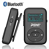 Bluetooth MP3 Player PIIWI Sporter 8GB Clip Sport Portable Lossless Sound Hi-Fi Music Player with FM Radio, Voice Recorder, Earphones & Sweatproof Silicone Case for Running and Sports