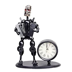 2 in 1 Balck Iron Art Nut And Bolt Skull Music Man Figure Elegant Unique Western Style Clock Watch ~Home Office Desk Decor Gift (Accordion)