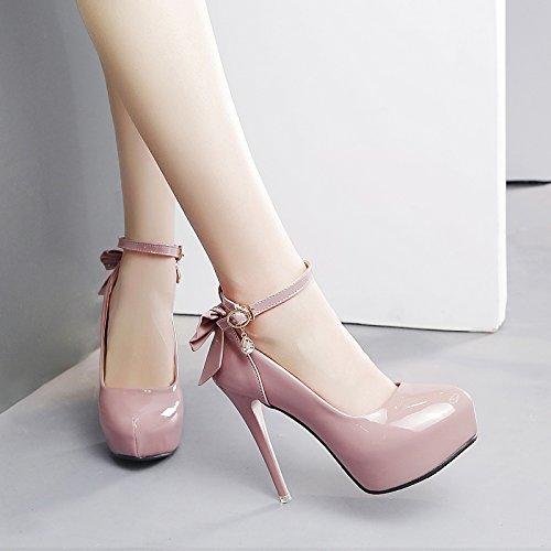 GTVERNH-Pinkfarbene Hochhackige Schuhe Im Studentinnen Im Schuhe Frühjahr Und Herbst Alle Treffer Mit Einem Schönen Mädchen Schuhe Schuhe Sandalen Runde Flach Mund Thirty-five d8c691