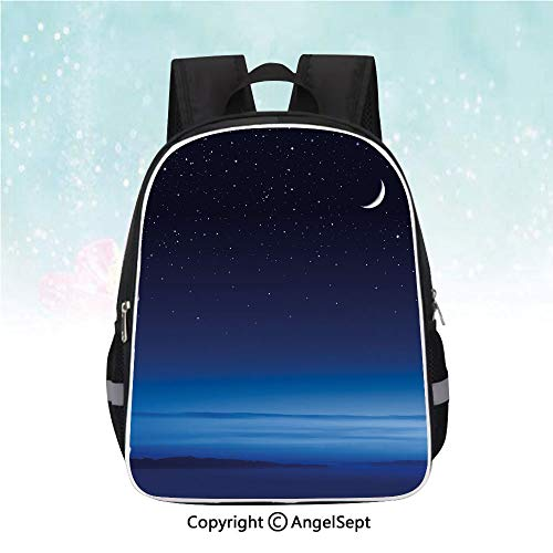 Santa Barbara Backpack - School Student Backpack,Moon and Stars over Santa Barbara Channel Infinity Foggy Pacific Ocean Decorative,13